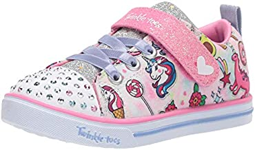 Skechers Kids Girls' Sparkle LITE-DREAMYLAND Sneaker, Light Pink/Multi, 7 Medium US Toddler