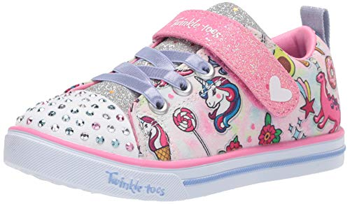 Skechers Kids Girls' Sparkle LITE-DREAMYLAND Sneaker, Light Pink/Multi, 10 Medium US Toddler