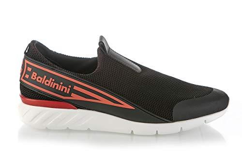 Baldinini 6703 Black Neoprene High Tech.Fabric Italian Designer Men Sneakers