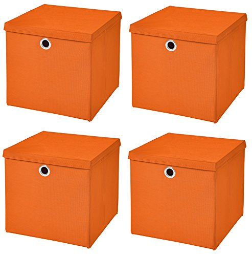 StickandShine 4er Set Orange Faltbox 28 x 28 x 28 cm Aufbewahrungsbox faltbar mit Deckel