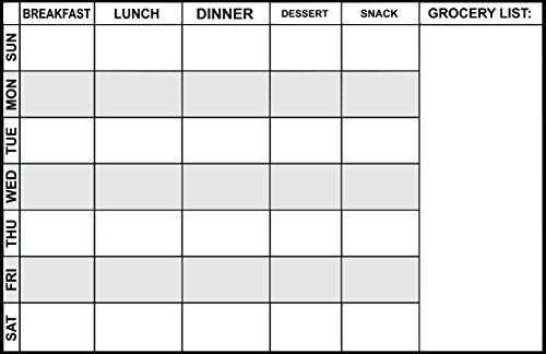 """Magnetic Meal Planner 17"""" x 11"""" - dry erase board - refrigerator message board for a Week of healthy meal planning and a section for a grocery list."""