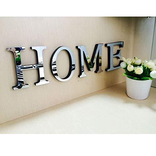 YUEMA DIY dekorative High-End-Spiegel Wandaufkleber kreativen Spiegel TV Hintergrund Schlafzimmer Korridor Dekoration Wandtattoo Wanddekoration (HOME silber)