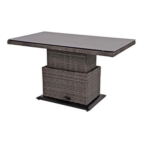 lifestyle4living Rechteckiger höhenverstellbarer Loungetisch aus Rattan, Gartentisch in anthraz, wetterfest, der Rattantisch ist ideal für Terasse oder ihren Balkon.