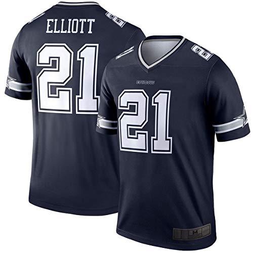 WOPOO Camiseta de fútbol americano para hombre #21 azul marino, logotipo de la línea Pro Player Jersey de secado rápido ropa deportiva para hombres