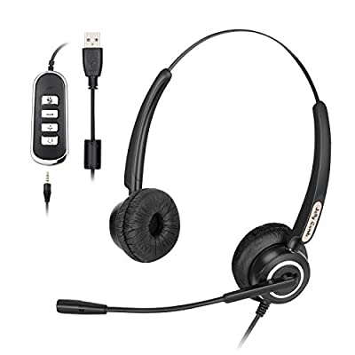 PC Headset, Jelly Comb Wired Telephone Headsets with 3.5mm and USB Cable Lightweight Business Headsets Noise-canceling for Skype On-line Conference, Call Center, Gaming on Computer, Mobile Phone, PS4 by Jelly Comb