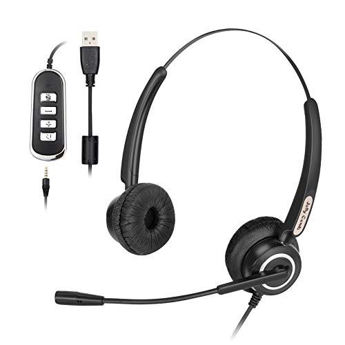 Jelly Comb Headset PC, 3,5mm und USB Headset mit Noise-Cancelling-Mikrofon für Call Center, Leicht und Komfortable PC Kopfhörer für PC, Handy, Skype, Zoom, Unterricht, Home Office, PS4