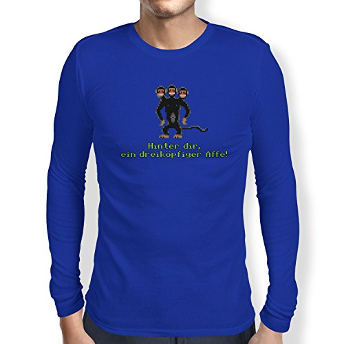 NERDO - Dreiköpfiger AFFE - Herren Langarm T-Shirt, Größe S, Marine