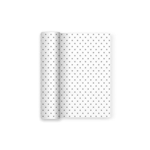 Maxi Products Mantel de Papel para Fiesta Blanco con Decorado de Estrellas Plata Ideal para Fiestas de Cumpleaños, Aniversarios, Fiestas Baby Shower y bautizos - 1,2 x 5 m