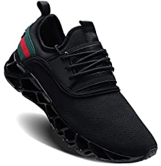 Rubber material of sole possesses high durability for prolonging the wearing time of our shoes. The elastic blade soles have high flexibility which allows the shoes to bend strongly while doing sports. Knit upper material make it possible that your f...