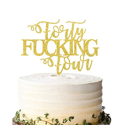 Forty Fucking Four Cake Topper, Happy 44th Birthday Cake Topper, Adult Birthday Cake Topper for 44th Birthday Party Decoration Supplies