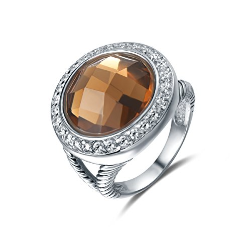 Quiges Entourage Ring van Zilver met Zirkonia Kristal Bruin voor Dames