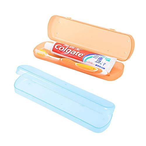 2pcs Portable Brosse à dents cas Respirant Brosse à dents Dentifrice plastique Boîte de rangement Support pour Voyage et vie à la maison