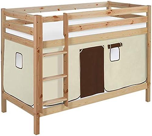 Lilokids Etagenbett JELLE TüV & GS geprüft 90 x 190 cm Braun Beige - Spielbett Weiß - mit Vorhang und Lattenroste
