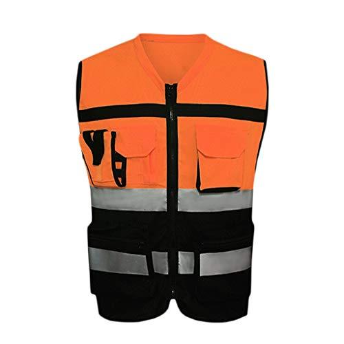 Reflektierende Sicherheitsweste Engineering Site Leadership Arbeitskleidung Warnschutzweste Reisen bei Nacht Hochbausicherheit Unisex (Color : B, Size : XXL)