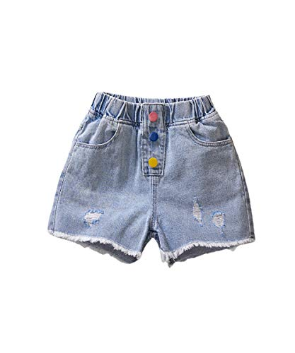 ICECTR Toddler Baby Boys Girls Denim Shorts Elastic High Waist Buttons Ripped Short Jeans Summer Casual Outfit (#2 Blue 3, 10-11T)