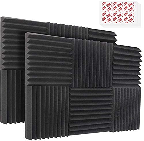 """Acoustic Foam Panels, 12 Pack 2"""" X 12"""" X 12"""" Sound Proof Padding Studio Foam Wedge Tiles Sound Absorbing Dampening Foam Panels, Ideal for Wall Soundproofing Treatment, Black 6 Slots (With Tapes)."""