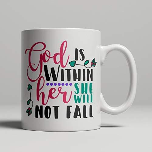 Dios está Dentro de Ella Ella no caerá Taza Cristiana Regalos religiosos Cristianismo Arte confirmación Bautismo Bautizo Taza religión cumpleaños