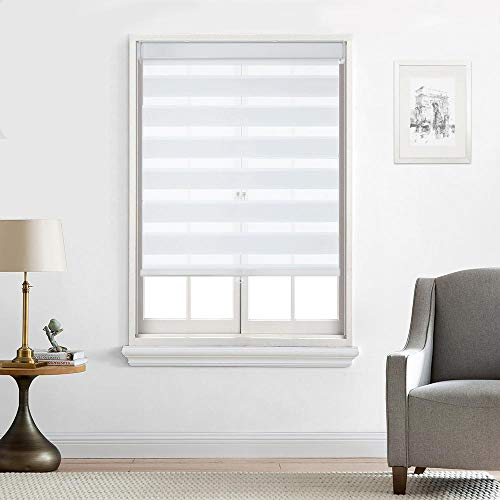 Everyday Celebration Customized Cordless Zebra Shades, Free-Stop Light Filtering Zebra Roller Blinds for Bedroom/Living Room/Office (White 31' W X 72' H)