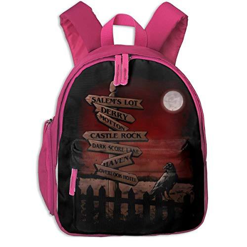 DJNGN Horror Crossroads Light Durable Grundschule Rucksack Mittelschule Grundschule Schultasche Pink