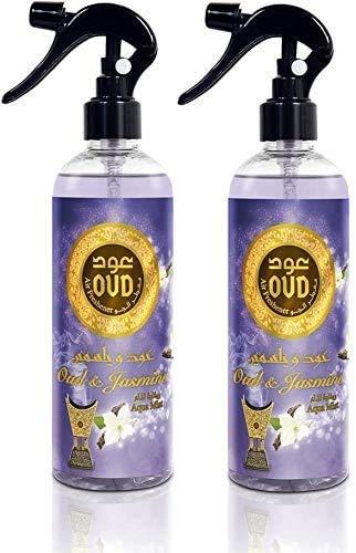 Conjunto de 2 Oud y Jazmín Spray de Textiles para el Hogar Elimina Los Olores atrapados en Las Telas, Aroma Fresco 455ml Notas: Toronja Rosa, Jazmín y Oud