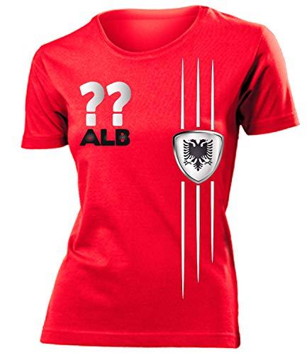 Albanien Albania Shqipëri Wunsch Zahl ohne Name Fan t Shirt Artikel 3318 Fuss Ball EM 2020 WM 2022 Trikot Look Flagge Fahne Frauen Damen Mädchen S