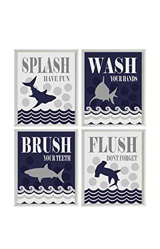 Shark Bathroom Wall Art, Kids Bathroom, Wash, Flush, Brush, Splash, Shark Bathroom Theme, Shark Art, Boy Bathroom, Child Bathroom Decor