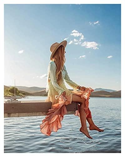 chushi Vestidos de Mujer Arco Iris con Cuello En V Volante Vestido...