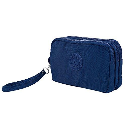 TOOGOO Las mujeres pequenas de la carpeta de la arruga el bolso del telefono de la tela tres cremalleras portatiles Bolsa de cosmeticos Azul oscuro