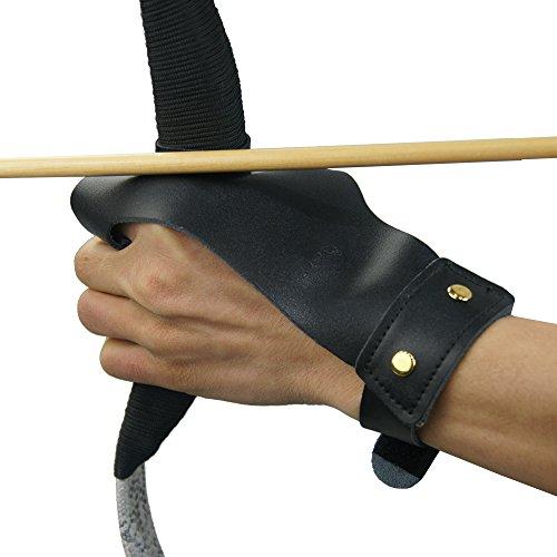 Sportsmann Bogen Finger Handschuh Schießhandschuh Bogenhandschuh Schutzhandschuh Fingerschutz Bogenschießen Recurve Bow Compoundbogen (Schwarz)