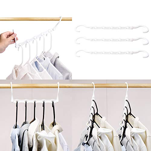 HOUSE DAY White Magic Hangers Space Saving Clothes Hangers Organizer Smart Closet Space Saver Pack of 10 with Sturdy Plastic for Heavy Clothes