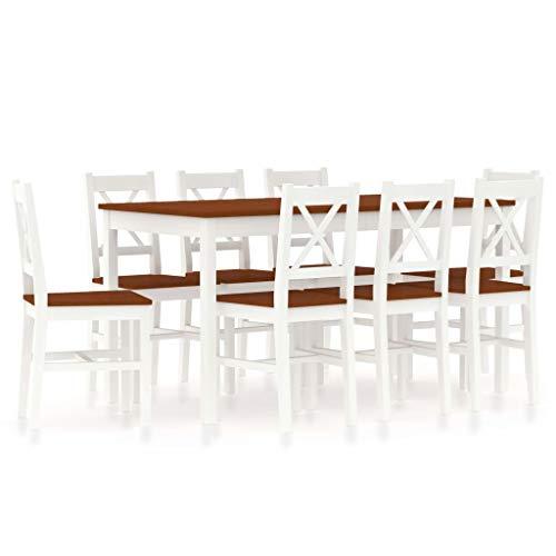 FAMIROSA Conjunto de Comedor 9 Piezas Madera de Pino Blanco y marrón-3384