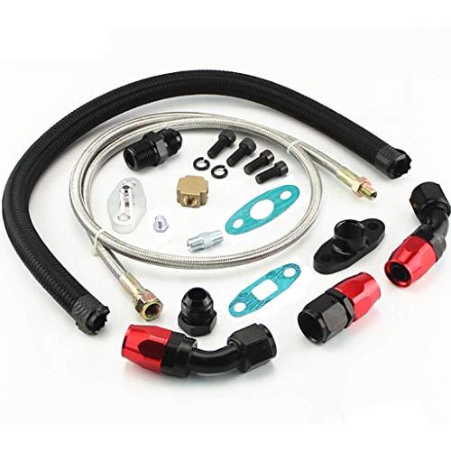Anngo Turbo - Kit de alimentación de aceite para drenaje de aceite T3 T4 T04E T60 T61 T70 negro