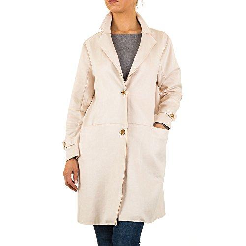 Ital Design Velourslederoptik Trenchcoat Mantel Für Damen, Creme In Gr. M