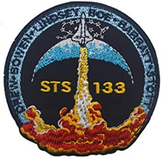 STS 133 NASA Space Military Patch Fabric Embroidered Badges Patch Tactical Stickers for Clothes with Hook & Loop (color2)