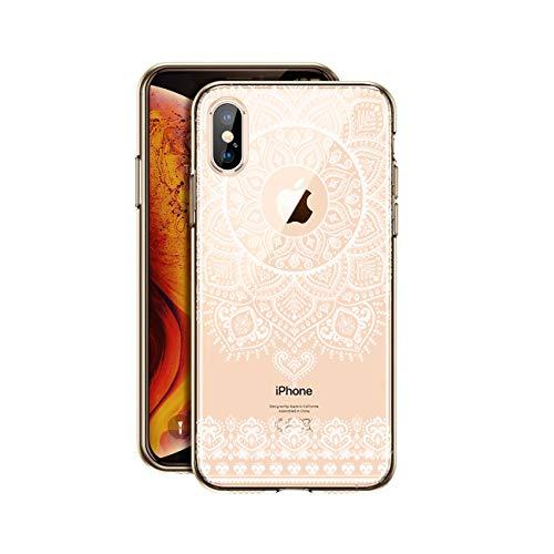 HULI Design Hülle Hülle für Apple iPhone XS MAX Smartphone im Orientalischen Muster weiß - Schutzhülle mit orientalischem Mandala Sonnenmuster Ornament Traumfänger - Handyhülle durchsichtig