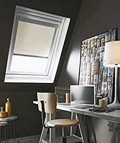 Madecostore Dachrollo, Rollo, kompatibel mit Velux® – Beige – L 61 x H 74 cm – Modell M04 – Rahmen aus Aluminium