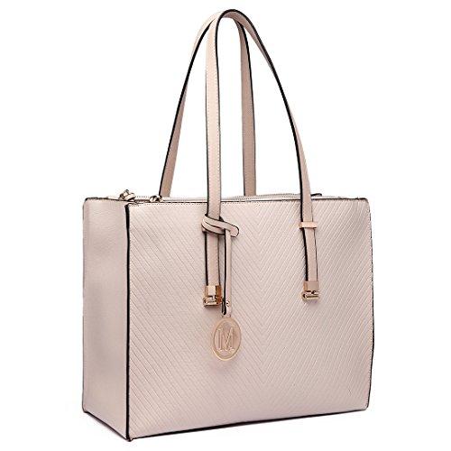 Miss Lulu Women Adjustable Designer Shoulder Handbags Ladies A4 Size Laptop Large Faux Leather Tote Bags (Beige)