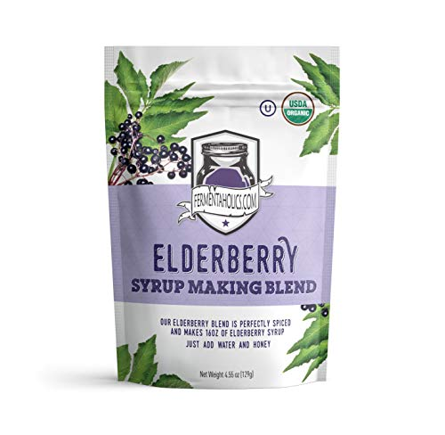FERMENTAHOLICS | USDA Organic Dried Elderberry Syrup Making Blend- | Easily Make Your Own Elderberry Syrup or Tea! | All Natural Free Of Chemicals | For Syrup