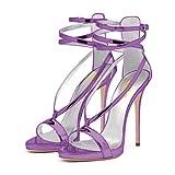 FSJ Women Sexy Strappy Sandals for Wedding Open Toe Metallic High Heels Pumps Shoes Size 10 Purple