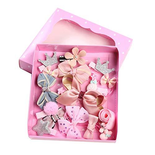 Homeofying Lot de 18 barrettes à cheveux pour fille avec nœud et couronne de fleurs et pompons