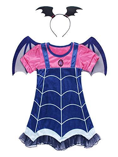 JerrisApparel - Juego de disfraz de niña con diadema para Halloween (azul, 3T)