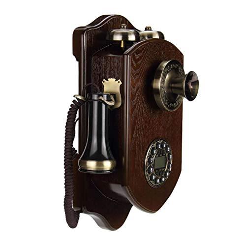 WDXLT Campana De Metal Teléfono Retro Vintage,Madera Maciza Teléfono De Pared,Botones Dial Telephone,Hogar Y Decoración,Teléfono De Marcación Rotatoria Marcación Giratoria