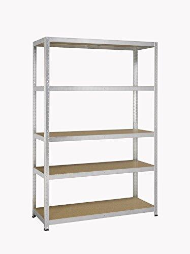 Avasco 5400431606003-175 forte mensola/clip haul metallo/legno con 5 ripiani 200 x 100 x 50 cm chiaro galvanizzato