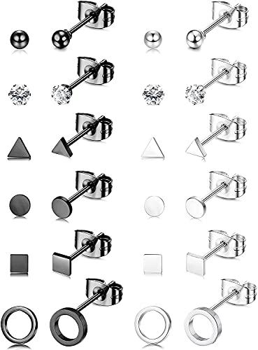 MILACOLATO Milacolato12Pairs CZ Ball Geometric Small Cartilage Stud Earring Set Acero Inoxidable Circle Triangle Disc Square Tiny Stud Pendientes Mini Cartílago Tragus Pendientes para Mujeres Hombres