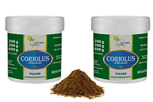 VITAIDEAL VEGAN® Coriolus Pilz Pulver Extrakt (Coriolus versicolor) 2x300g inklusive Messlöffel rein natürlich ohne Zusatzstoffe.