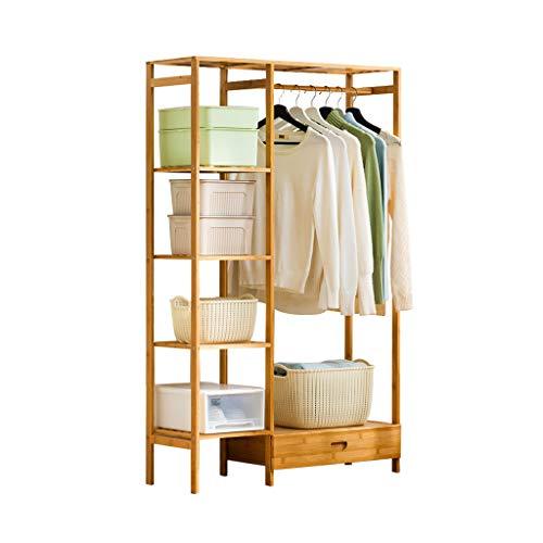 Porte-manteau chambre à coucher en bois massif à la maison accrochant des supports simples et modernes au sol avec un tiroir de rangement pour vêtements Casiers ( Color : Beige , Size : 92*30*146cm )