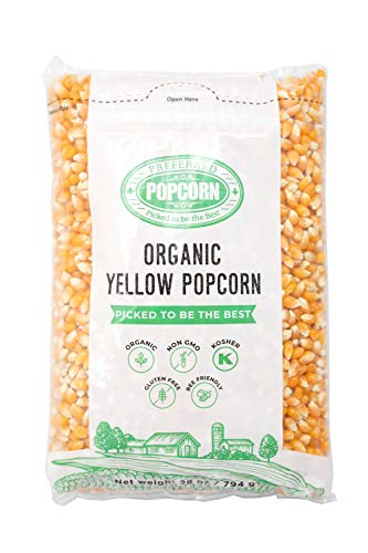 Preferred Popcorn Organic Popcorn, 28 Ounce bag, Pack of 4, 30 Servings Per Bag