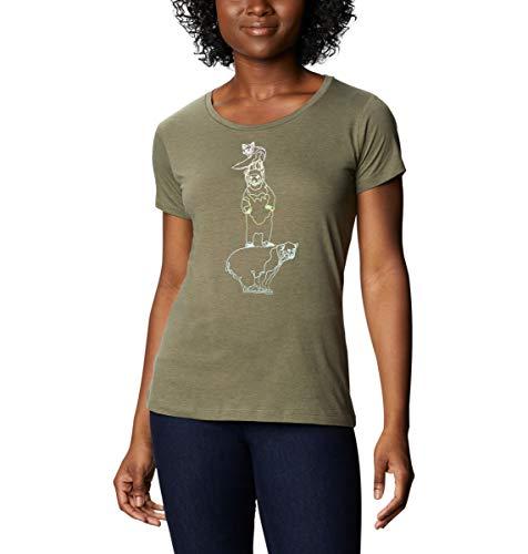 Columbia Daisy Days - Camiseta de Manga Corta para Mujer, diseño de Margaritas, Mujer, 1934591, Stone Green Heather, Lil Friends, M
