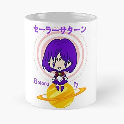 Chibi Anime Sailor Saturn Kawaii Crystal Cosplay Manga Moon Best Mug hält Hand 11oz aus weißer Marmorkeramik