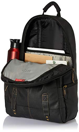 Gear Classic Anti Theft Faux Leather 14 cms Black Laptop Backpack (LBPCLSLTH0101)